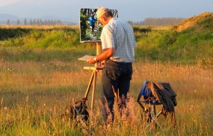 richard painting in the field